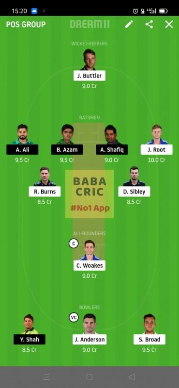 ENG vs PAK (2nd Test) Dream11 Grand League Team 2