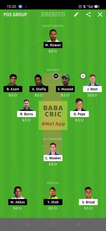 ENG vs PAK (2nd Test) Dream11 Grand League Team 5