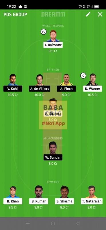 SRH vs BLR (Dream11 IPL 2020) Dream11 Grand League Team 2