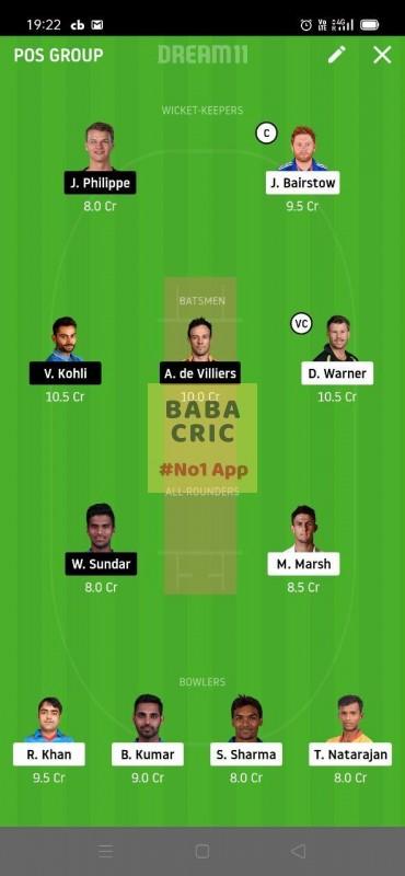 SRH vs BLR (Dream11 IPL 2020) Dream11 Grand League Team 3