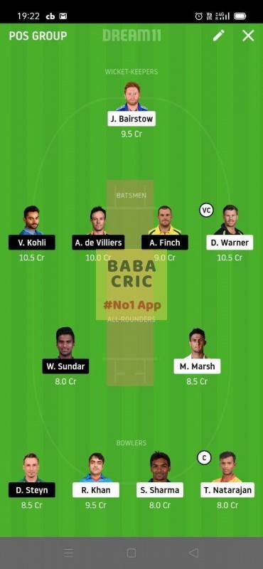 SRH vs BLR (Dream11 IPL 2020) Dream11 Grand League Team 4