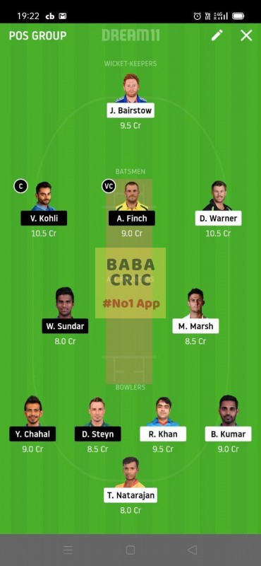 SRH vs BLR (Dream11 IPL 2020) Dream11 Grand League Team 5