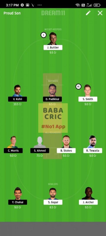 RR vs BLR (IPL 2020) Dream11 Grand League Team 3