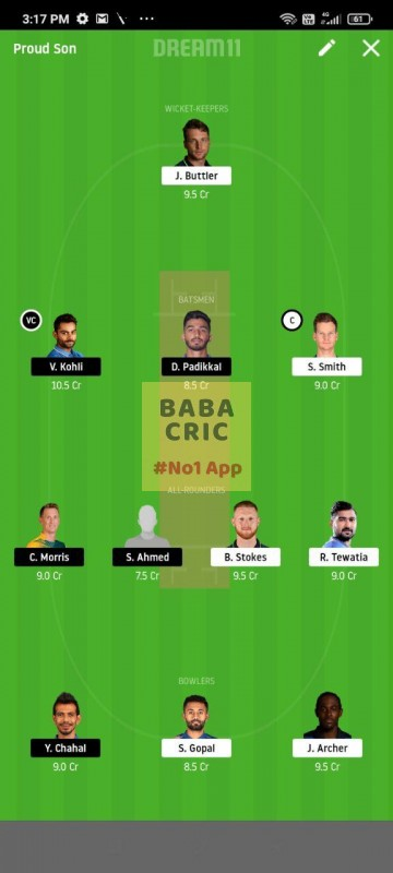 RR vs BLR (IPL 2020) Dream11 Grand League Team 4