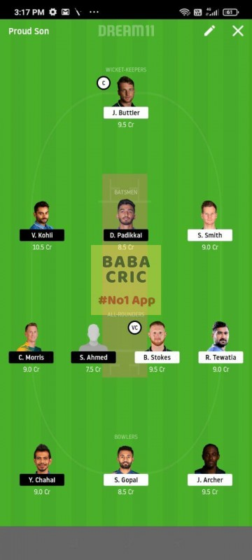 RR vs BLR (IPL 2020) Dream11 Grand League Team 5
