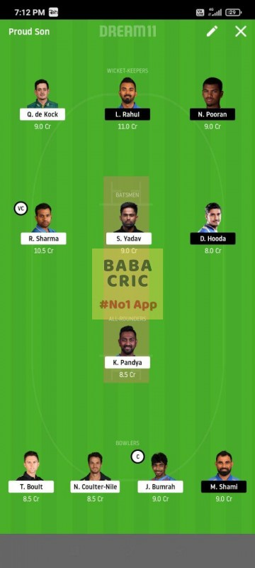 MI vs KXIP (IPL 2020) Dream11 Grand League Team 1