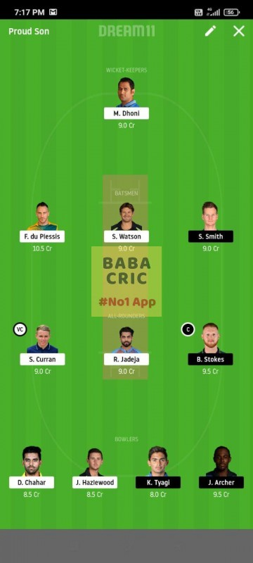 CSK vs RR (IPL 2020) Dream11 Grand League Team 1