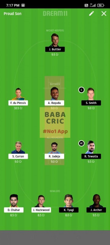 CSK vs RR (IPL 2020) Dream11 Grand League Team 2