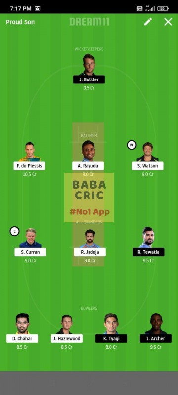 CSK vs RR (IPL 2020) Dream11 Grand League Team 3