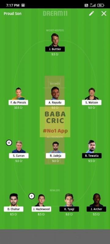 CSK vs RR (IPL 2020) Dream11 Grand League Team 4
