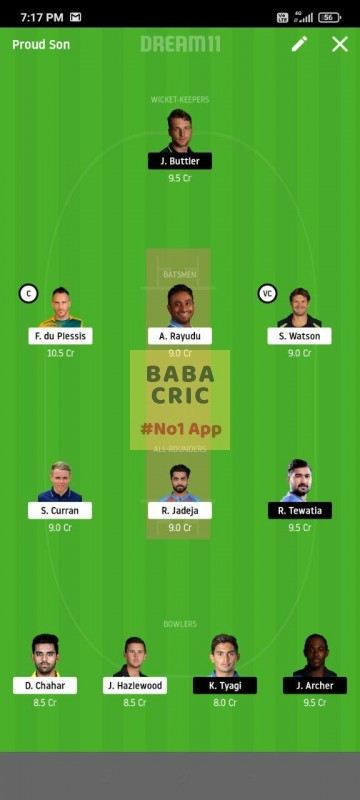 CSK vs RR (IPL 2020) Dream11 Grand League Team 5