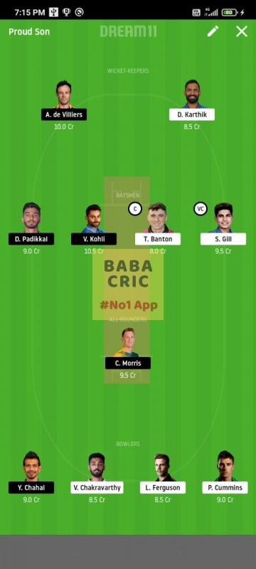 KOL vs BLR (IPL 2020) Dream11 Grand League Team 1