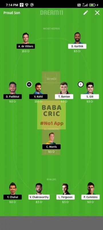 KOL vs BLR (IPL 2020) Dream11 Grand League Team 4