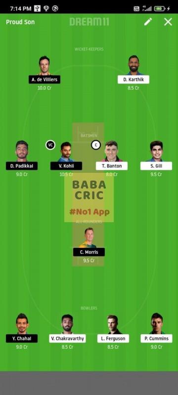 KOL vs BLR (IPL 2020) Dream11 Grand League Team 5