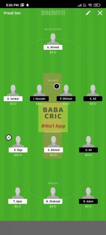FZL vs PMCC (ECS T10 Barcelona) Dream11 Grand League Team 3