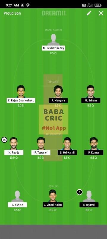 KINXI vs WARXI (Karbonn Andhra T20) Dream11 Grand League Team 1