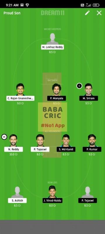 KINXI vs WARXI (Karbonn Andhra T20) Dream11 Grand League Team 3