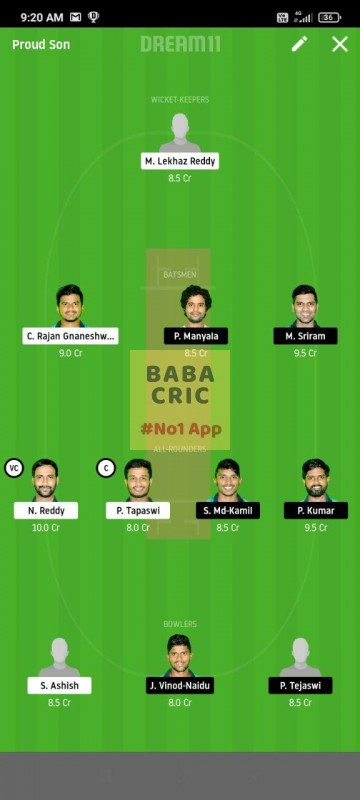 KINXI vs WARXI (Karbonn Andhra T20) Dream11 Grand League Team 5