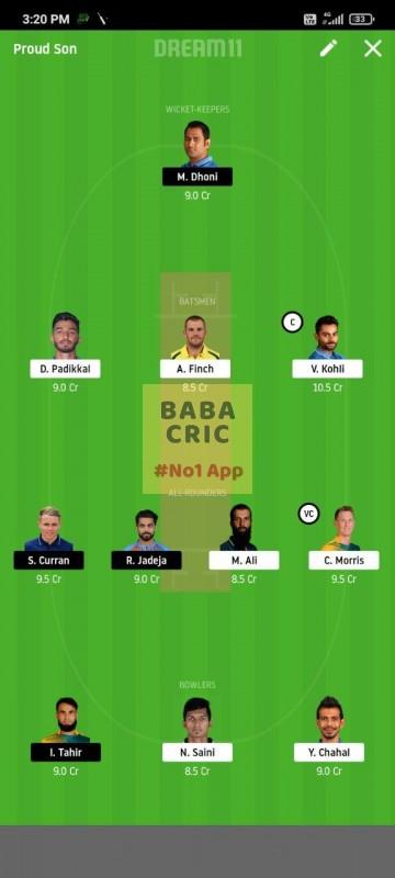 BLR vs CSK (IPL 2020) Dream11 Grand League Team 2