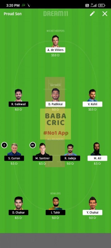 BLR vs CSK (IPL 2020) Dream11 Grand League Team 3