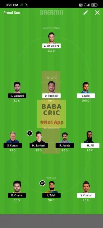 BLR vs CSK (IPL 2020) Dream11 Grand League Team 5