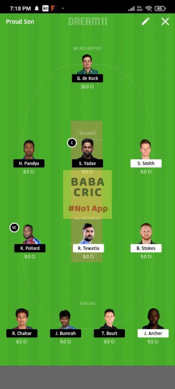 RR vs MI (IPL 2020) Dream11 Grand League Team 4