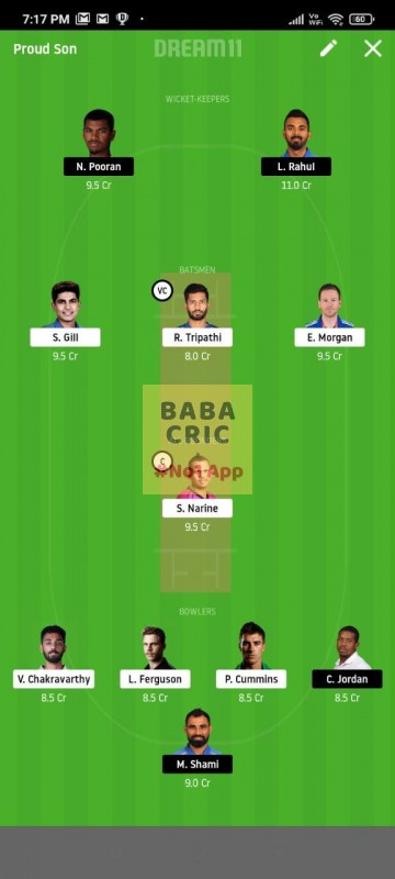 KOL vs KXIP (IPL 2020) Dream11 Grand League Team 1