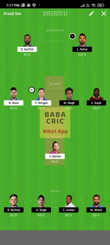KOL vs KXIP (IPL 2020) Dream11 Grand League Team 2