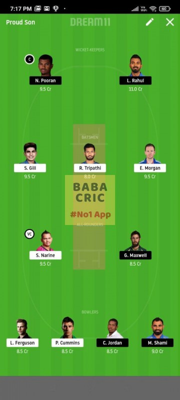 KOL vs KXIP (IPL 2020) Dream11 Grand League Team 3