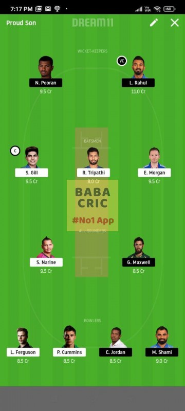 KOL vs KXIP (IPL 2020) Dream11 Grand League Team 4
