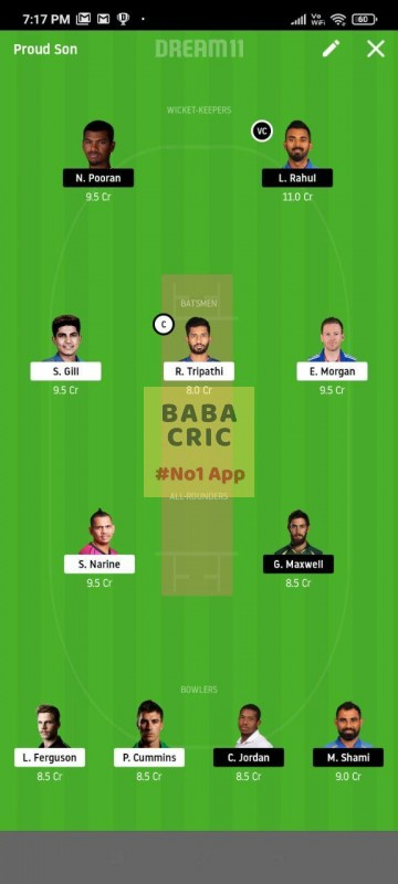 KOL vs KXIP (IPL 2020) Dream11 Grand League Team 5