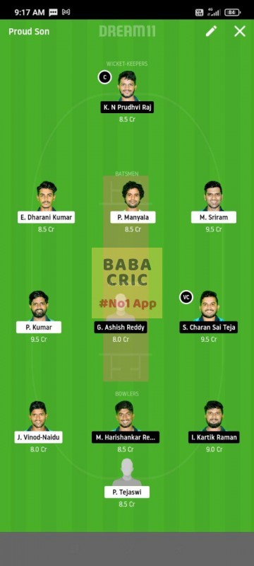 WARXI vs LEGXI (Karbonn Andhra T20) Dream11 Grand League Team 1