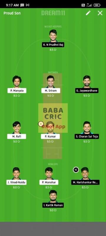 WARXI vs LEGXI (Karbonn Andhra T20) Dream11 Grand League Team 2