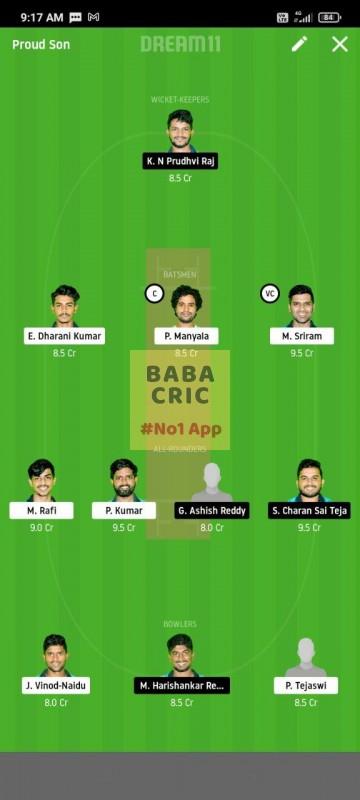 WARXI vs LEGXI (Karbonn Andhra T20) Dream11 Grand League Team 3