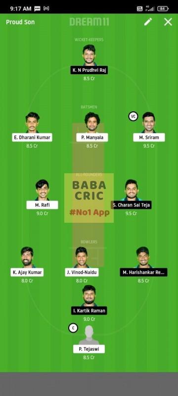 WARXI vs LEGXI (Karbonn Andhra T20) Dream11 Grand League Team 4