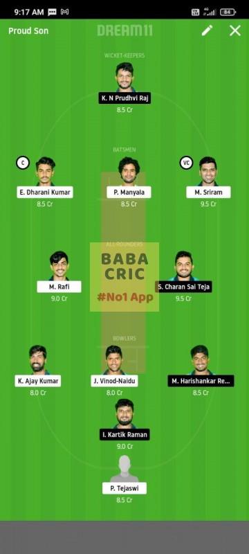 WARXI vs LEGXI (Karbonn Andhra T20) Dream11 Grand League Team 5