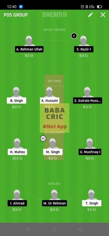 GCC vs JUCC (ECS T10 Barcelona) Dream11 Grand League Team 2