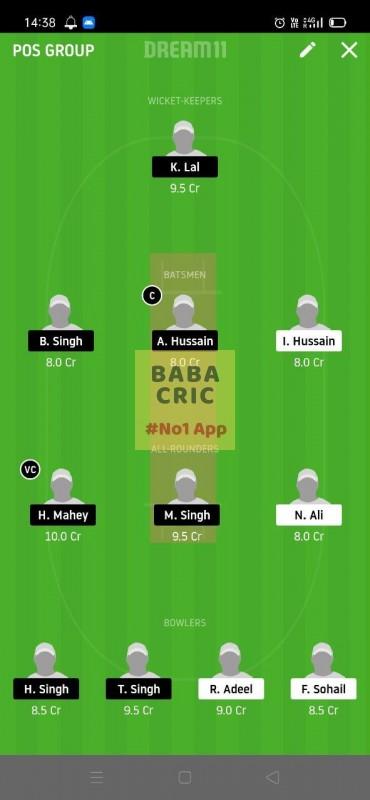 PMCC vs GCC (ECS T10 Barcelona) Dream11 Grand League Team 5