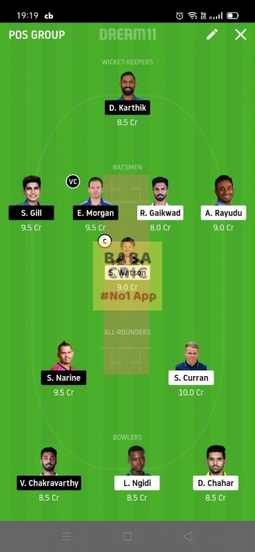 CSK vs KOL (IPL 2020) Dream11 Grand League Team 2