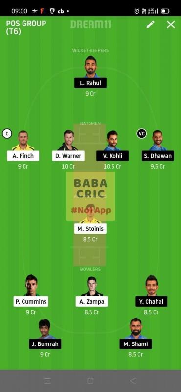 INDIA vs AUSTRALIA 1st ODI (Australia vs India ODI 2020) Dream11 Grand League Team 1