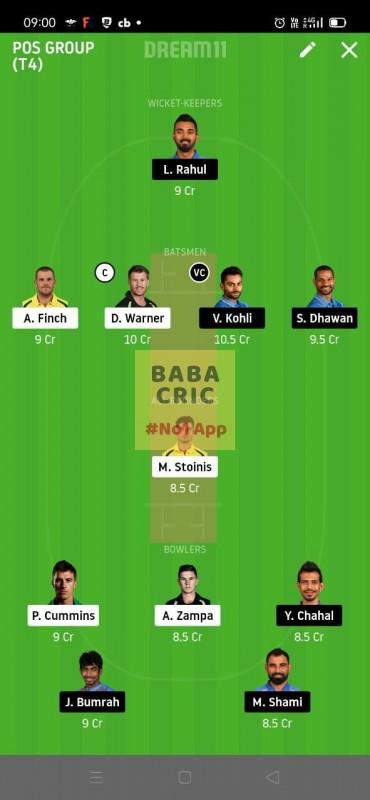 INDIA vs AUSTRALIA 1st ODI (Australia vs India ODI 2020) Dream11 Grand League Team 4