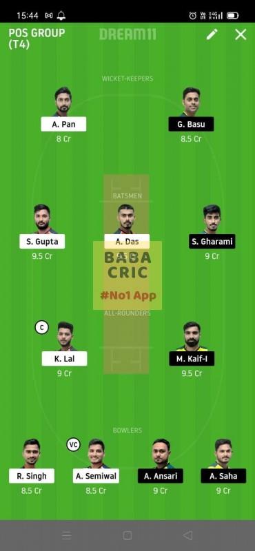 CAL vs TOC (Roxx Bangal T20 Chellenge) Dream11 Grand League Team 1