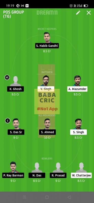 MBC vs TMC (Roxx Bangal T20 chellenge) Dream11 Grand League Team 3