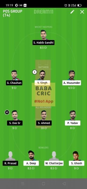 MBC vs TMC (Roxx Bangal T20 chellenge) Dream11 Grand League Team 4