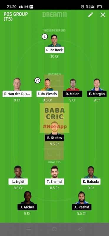 South Africa vs Enland 1st T20I (South Africa vs England) Dream11 Grand League Team 1