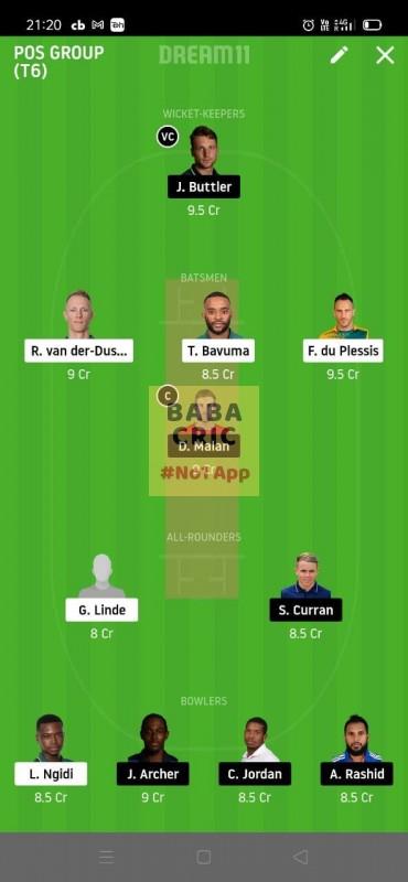 South Africa vs Enland 1st T20I (South Africa vs England) Dream11 Grand League Team 5