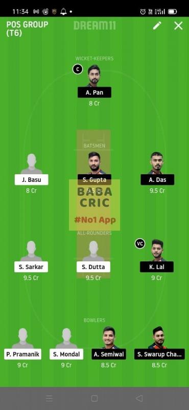KAC vs CAL (Roxx bangal T20 Chellenge) Dream11 Grand League Team 3