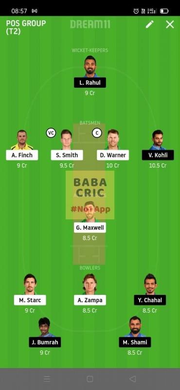 AUS vs IND (2nd ODI Match) Dream11 Grand League Team 1