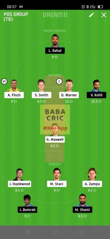 AUS vs IND (2nd ODI Match) Dream11 Grand League Team 5