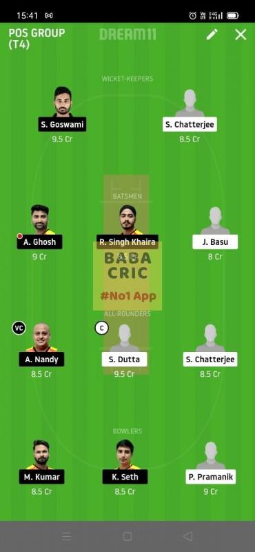 KAC vs EBC (Roxx Bangal T20 challenge) Dream11 Grand League Team 1